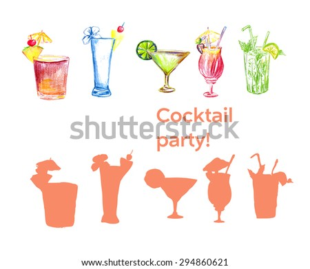 Cocktail hand drawn elements with vector silhouette. Isolated on white. Vector illustration.