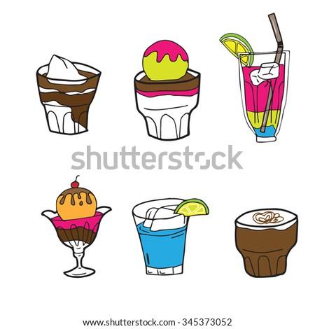 Cocktail Ice Cream Cartoon Drawing Stock Vektorgrafik Lizenzfrei