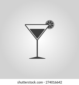 The cocktail icon. Alcohol symbol. Flat Vector illustration