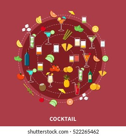 Cocktail icon set of alcoholic drinks and their ingredients in flat style vector illustration