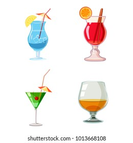 Cocktail icon set. Cartoon set of cocktail vector icons for web design isolated on white background