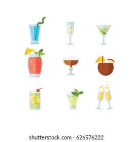 Cocktail icon set, flat, eps 8 no transparencies