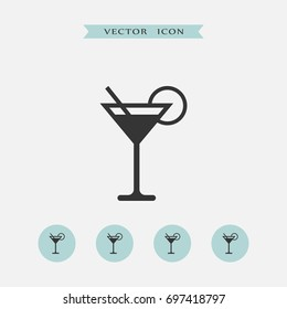 Cocktail icon simple illustration drink sign