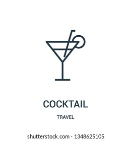 cocktail icon vector from travel collection. Thin line cocktail outline icon vector illustration. Linear symbol for use on web and mobile apps, logo, print media.