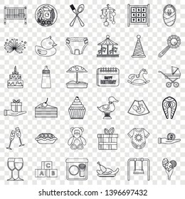 Cocktail icons set. Outline style of 36 cocktail vector icons for web for any design