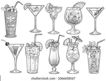 Cocktail illustration, drawing, engraving, ink, line art, vector