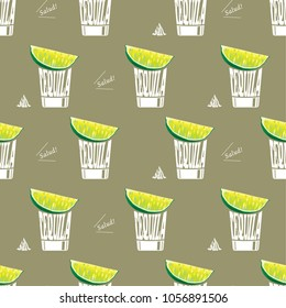 Cocktail illustration Tequila shot Seamless pattern background vector-retro style