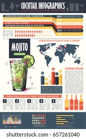 Cocktail infographic collection. Vector charts and diagrams templates.