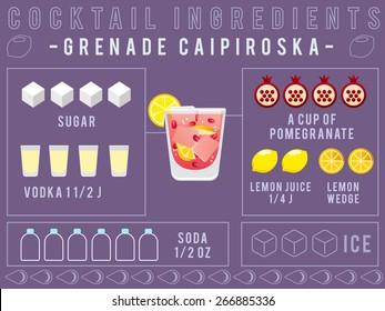 Cocktail Ingredients : Pomegranate Caipiroska  :Vector Illustration