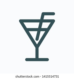 Cocktail isolated icon, hotel bar linear vector icon
