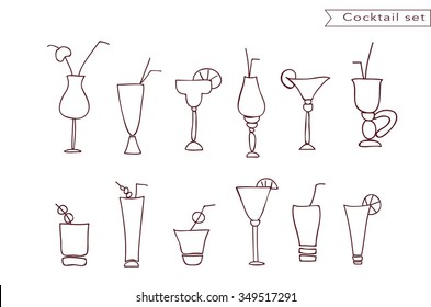 Cocktail and juice glasses line vector icon set. Glasses with straw and umbrella. Wine or vine, vodka, beer  beverages glasses and cups. Different drinks stemware collection.Linear glassware set.