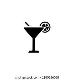 Cocktail with lemon slice icon
