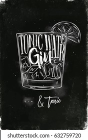 Cocktail lettering tonic water, gin, ice in vintage graphic style drawing with chalk on chalkboard background