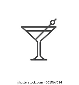 Cocktail line icon, outline vector sign, linear style pictogram isolated on white. Symbol, logo illustration. Editable stroke. Pixel perfect