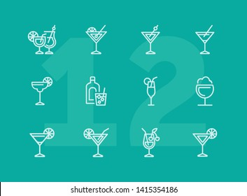 Cocktail line icon set. Vermouth, margarita, pina colada. Alcoholic drinks concept. Can be used for topics like bar, party, celebration
