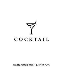 Cocktail Logo Design Vector Template