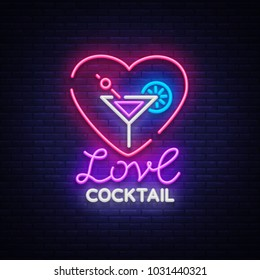 Cocktail logo in neon style. Love Cocktail. Neon sign, Design template for drinks, alcoholic beverages. Light banner, Bright nightlight advertising for cocktail bar, party. Vector illustration