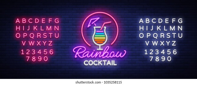 Cocktail logo in neon style. Rainbow Cocktail. Neon sign, Design template for drinks, alcoholic. Light banner, Bright advertising for cocktail bar, party. Vector illustration. Editing text neon sign