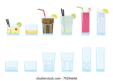 Cocktail and long drink glasses. Part of a collection of glasses and drinks.