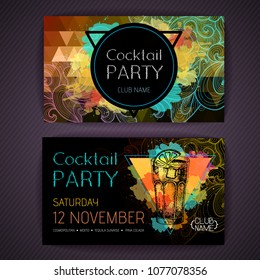 Cocktail long island ice tea on artistic polygon watercolor background. Cocktail disco party poster