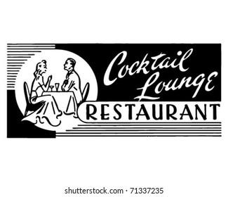 Cocktail Lounge Restaurant - Retro Ad Art Banner