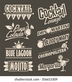 Cocktail lounge retro menu design concept. Chalkboard black background with drink theme for restaurant or cafe bar.