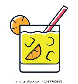 Cocktail in lowball glass yellow color icon. Refreshing alcohol cold drink in old fashioned tumbler. Mixed beverage with ice, slice of citrus and straw. Isolated vector illustration