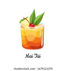 Cocktail Mai Tai in cartoon style for menu, cocktail cards. Contemporary Classic cocktail. Longdrink. Polynesian-style drink popular tiki cocktail with a slice of pineapple. Summer drink icon.