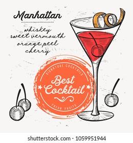 Cocktail manhattan for bar menu. Vector drink flyer for restaurant and cafe. Design poster with vintage hand-drawn illustrations.