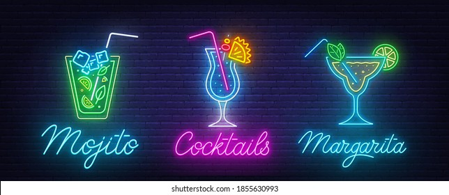 Cocktail Margarita, Blue Hawaiian and Mojito neon sign on brick wall background.