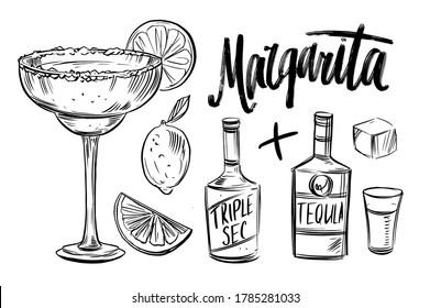 Cocktail margarita ingredients. Black outline on transparent background