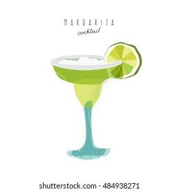 Cocktail Margarita with lime on white background. Vector, illustration, flat