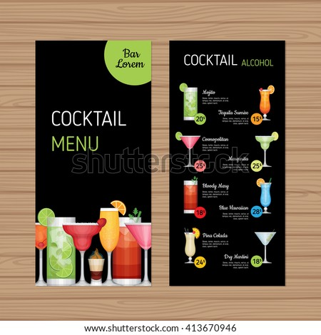 cocktail menu design alcohol drinks leaflet stock vektorgrafik lizenzfrei 413670946 shutterstock. Black Bedroom Furniture Sets. Home Design Ideas