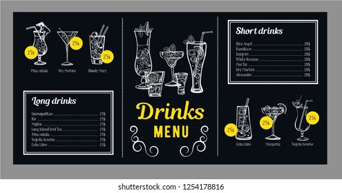 Cocktail menu design template with list of alcohol drinks and graphics with cocktails. Vector outline hand drawn illustration with blackboard background