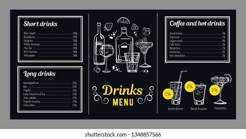 Cocktail menu design template with list of cold and hot drinks and illustrations with cocktails and bottles. Vector hand drawn graphics on blackboard background