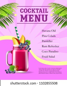 Cocktail menu poster. Fruit smoothie and palm leaves on pink background with rays. Bar, cafe, restaurant banner. Beverage concept. Can be used for posters, leaflets and brochure