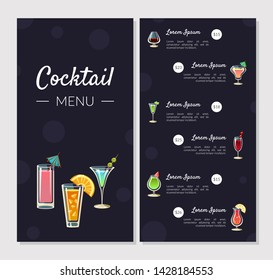 Cocktail Menu Template, Alcoholic Bar Menu with Different Types of Cocktails and Alcoholic Beverages, Banner, Card, Flyer Vector Illustration