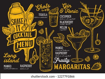 Cocktail menu template for restaurant on a blackboard background vector illustration brochure for food and drink bar. Design layout with vintage lettering and doodle hand-drawn graphic icons.