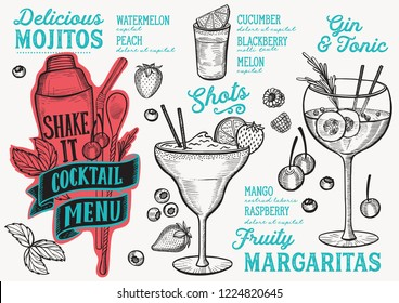 Cocktail menu template for restaurant vector illustration brochure for food and drink bar. Design layout with vintage lettering and doodle hand-drawn graphic icons.