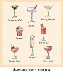 cocktail menu vector illustrstion