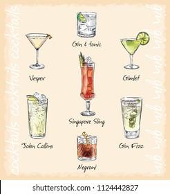 cocktail menu vector illustrstion. cocktails with gin