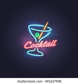 Cocktail neon sign, bright signboard, light banner. Cocktail logo, emblem