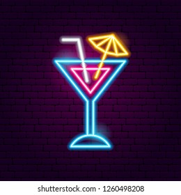 Cocktail Neon Sign. Vector Illustration of Drink Promotion.
