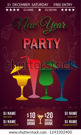 cocktail new year party invitation or bar menu with different types of cocktail abstract multicolor glasses