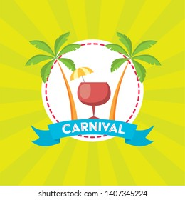 cocktail palm beach brazil carnival festival vector illustration