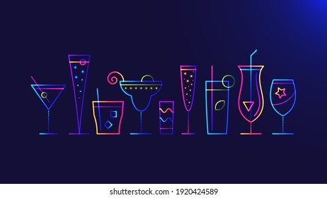 Cocktail party background. Vector illustration of abstract glowing neon colored different cocktail glasses over blue background for your design