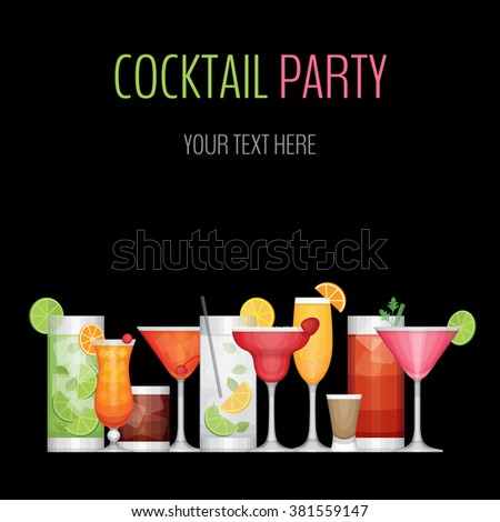 cocktail party card cocktail bar flyer stock vector royalty free