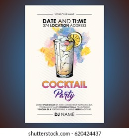 Cocktail party flyer. Watercolor + sketchstyle.