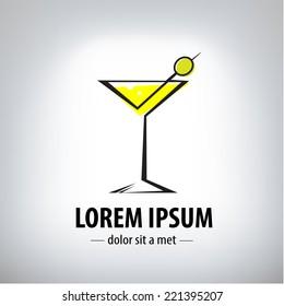 cocktail party glass design, logo. Company logo design.