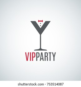 cocktail party glass logo. Vip party design background